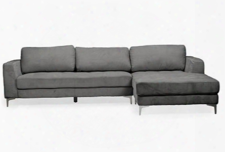 Baxton Studio U9320s-lrcc-rfc Sectional Agnew Right Facing Sectional Sofa With Chrome Legs Grey Bonded Leather Upholstery Solid Wood And Plywood