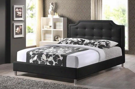 Bbt6376-black-king Carlotta Modern Platform Bed With Faux Crystal Button Tufted Faux Leather Upholstery Headboard Silver Metal Legs Non-marking Feet
