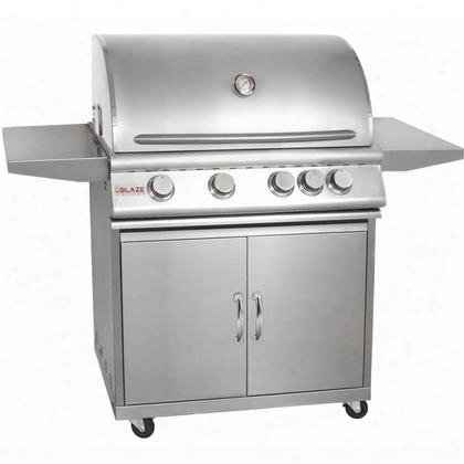 "Blz-4-ng + Blz-4-cart 32"" Grill On Cart With 4 Commercial Quality 304 Cast Stainless Steel Burners 66 000 Total Btus And 740 Square Inches Of Total Cooking"