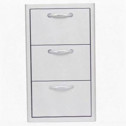 "Blz-drw3-r 16"" Commercial Grade Triple Access Drawer With Heavy Duty Sliding Drawer Mechanism In Stainless"