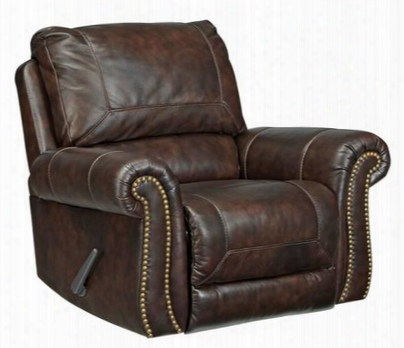 Bristan Collection 8220225 Rocker Recliner With Leather Upholstery Stitched Detailing Nail Head Accents Rolled Arms And Traditional Style In