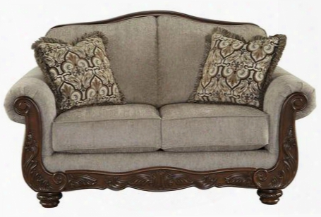 Cecilyn Collection 5760335 Loveseat With Fabric Upholstery Rolled Arms Piped Stitching Carved Detailing And Traditional Style In