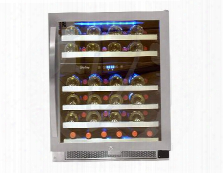 "Connoisseur Series Vt-46-2z-ssdst 24"" Dual-zone Wine Cooler With 46-bottle Capacity Digital Temperature Control Wire Rack With Stainless Lip And Security"