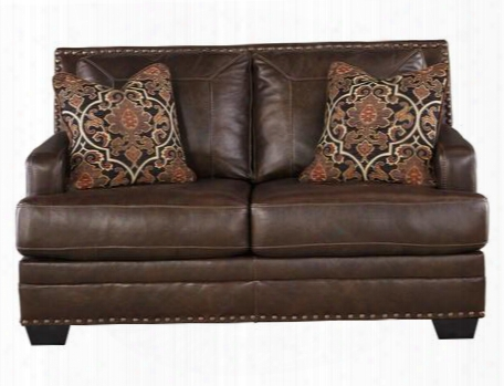 Corvan Collection 6910335 Loveseat With Leather Upholstery Stitched Detailing Removable Seat Cushions Nail Head Accents And Contemporary Style In