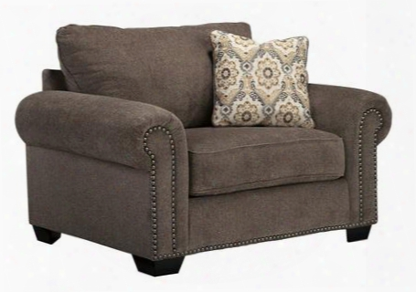 "Emelen Collection 4560023 59"" Chair And A Half With Fabric Upholstery Piped Stitching Rolled Arms Nail Head Accents And Contemporary Style In"