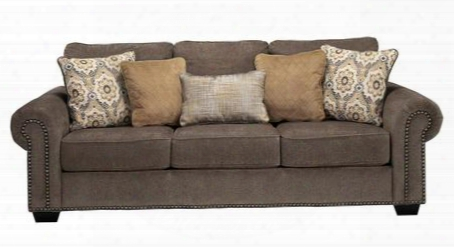 "Emelen Collection 4560038 95"" Sofa With Fabric Upholstery Piped Stitching Rolled Arms Nail Head Accents And Contemporary Style In"
