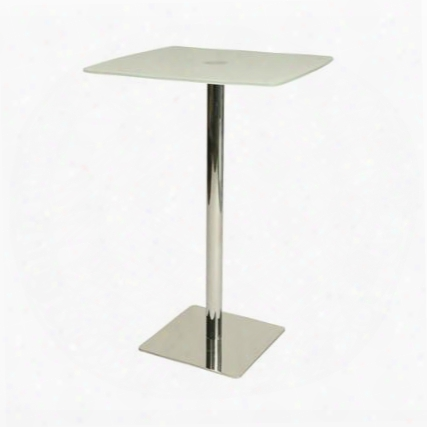 "Jasmyne Ja-520-2829 Pub Table With Square Chrome/stainless Steel Base And 27.5"" Square Frosted Glass Top In"
