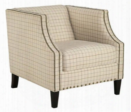 Kieran Collection 4400022 Accent Chair With Fabric Upholstery Piped Stitching Nail Head Accents Tapered Legs And Traditional Style In