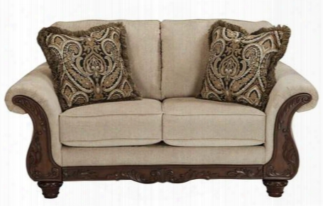 Laytonsville Collection 7200235 Loveseat With Fabric Upholstery Piped Stitching Carved Detailing Rolled Arms And Orally Transmitted  Style In