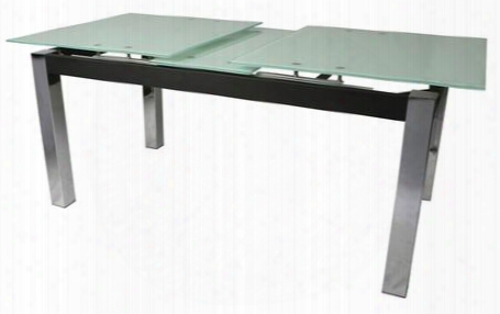 """Mc-512-7816 63""""-74""""w Extendable Dining Table With Ebony Apron Chrome Block Legs And Glass Top In"""