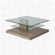 FV-415-3535 Fountain Valley Coffee Table with Multi-layer Configurable Glass Top and Veneer Wood Base in Somona