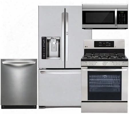 "4-piece Stainless Steel Kitchen Package With Lfxs27566s 36"" French Door Refrigerator Lrg3081st 30"" Freestanding Gas Range Ldf7774st 24"" Fully-integrated"
