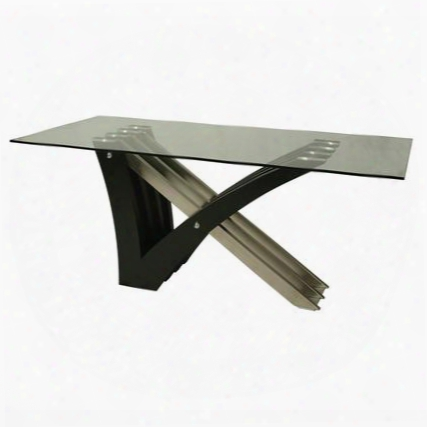 "Ak-512-7042-ss-we Akasha 70"" Wide Table With Glass Top Clean Design And Base In Stainless Steel And Veneer Wood In"