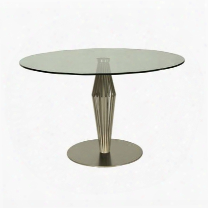 """Alexandria Ax-515-4803 48""""round Dining Table With Glass Top And Pedestal Base In Stainless"""