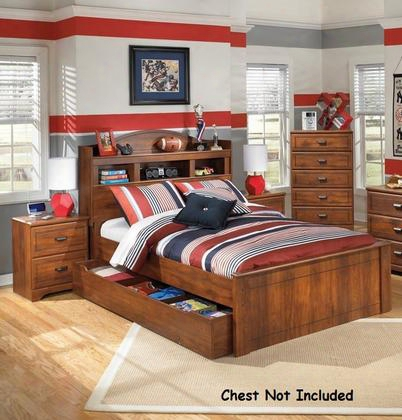 Barchan Full Bedroom Set With Bookcase Panel Bed With Trundle And 2 Nightstands In Warm