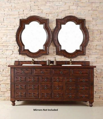 "Casstilian 160v72acgacg 72"" Double Vanity With 2 Doors 7 Drawers 2 Sinks Included Wood Top Antique Brass Hardware Oak And Birch Materials In Aged Cognac"