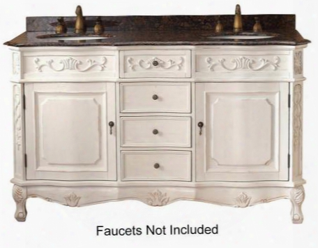 """Costa Blanca Collection 206-001-5519 60"""" Double Vanity With Granite Top Four Drawers And Two Doors In"""