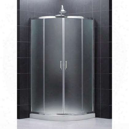 Dl-6703-01fr Prime Frameless Sliding Shower Enclosure And Slimline 38 By 38 Quarter Round Shower