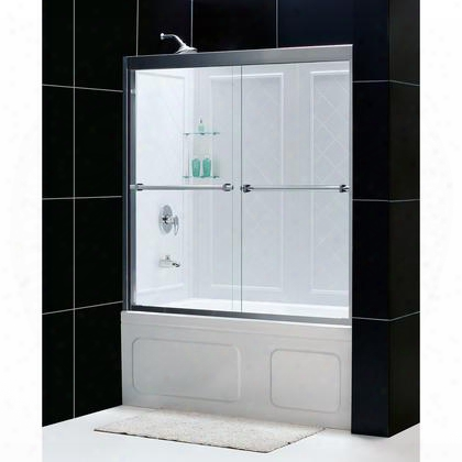 Dl-6996-04cl Duet 56 To 59 Frameless Bypass Sliding Tub Door And Qwall-tub Backwall