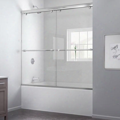 Dl-6997-04cl Charisma 56 To 60 Frameless Bypass Sliding Tub Door And Qwall-tub Backwall
