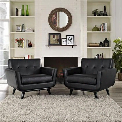 Eei-1665-blk-set Engage Leather Sofa Set In Black