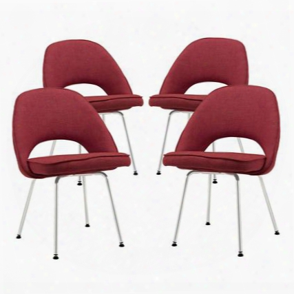 Eei-1685-red Set Of 4 Cordelia Dining Chairs With Polished Metal Legs In Red