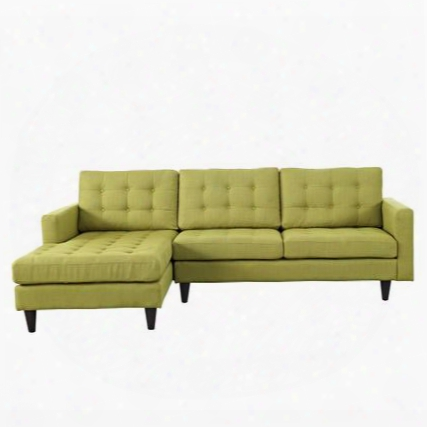 "Empress Eei1666whe 99.5"" Sectional Sofa With Left Arm Facing Chaise Button Tufted Cushions Track Arms Solid Wood Legs And Fabric Upholstery In Wheatgrass"