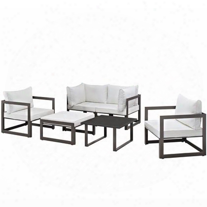 Fortuna Collection Eei-1723-brn-whi-set 6 Pc Outdoor Patio Sectional Sofa Set With Powder Coated Aluminum Frame Tempered Glass Table Top Fabric Cushions
