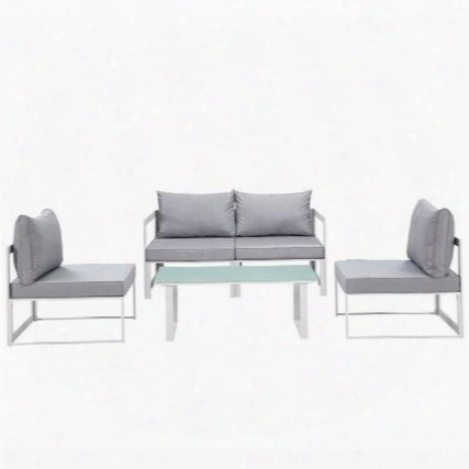Fortuna Collection Eei-1724-whi-gry-set 5-piece Patio Sectional Sofa Set With 2 Corner Sofa 2 Armless Chairs And Coffee Table In White And
