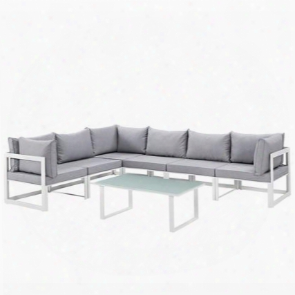 Fortuna Collection Eei-1737-whi-gry-set 7-piece Outdoor Patio Sectional Sofa Set With Coffee Table 3 Center Sections And 3 Corner Sections In White And