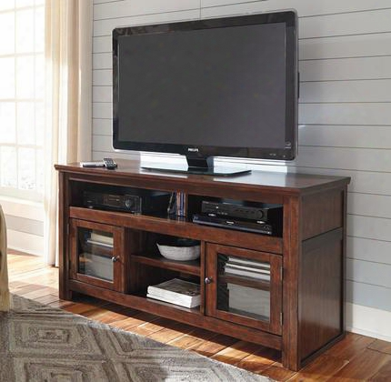 "Harpan W797-38 60"" Tv Stand Rta Including 4 Shelves And 2 Doors With Adjustable Shelf Hole(s) For Wiring And Molding Detail In Reddish"