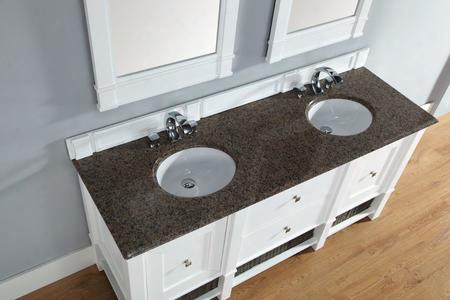"Madison 800v72cwhtbr 72"" Double Vanity With 2 Doors 2 Shelves 2 Drawers 2 Sinks Included Tropical Brown Granite Top Satin Nickel Hardware White Poplar"