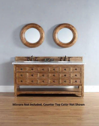 "Malibu 500v72hontbr 72"" Double Vanity With 6 Drawers 2 Sin Ks Included Tropical Brown Granite Top Rustic Iron Hardware Kiln-dried Hardwood Birch Solids And"