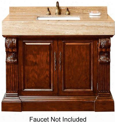 "Newport Collection 206-001-5176 42"" Single Vanity With Travertine Top Two Doors And Antique Brass Hardware In Dark"