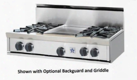 "Rgtnb Rgtnb364cftbv2lp 36"" Pro-style Rangetop With 4 Open Burners 12"" French Top Simmer Burner Automatic Electronic Ignition Re-ignition System And Drip"