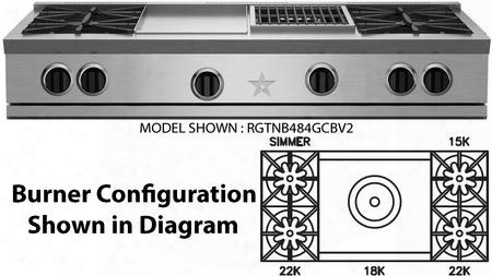 """Rgtnb484ftbv2 48"""" Rnb Series Pro-style Gas Rangetop With 4 Open Burners 22 000 Btu Power Burners 24"""" French Top Single Point Spark Ignition In Stainless"""