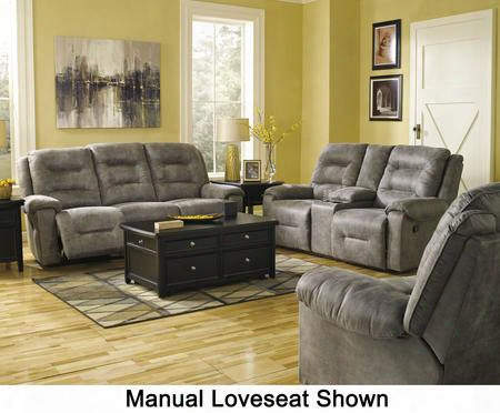 Rotation 97501pslr 3-piece Living Room Set With Power Reclining Sofa Double Power Reclining Loveseat And Power Rocker Recliner In Smoke