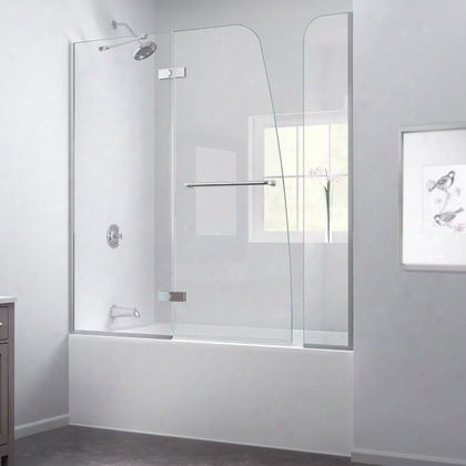 Shdr-3448580-ex-04 Aqua Ultra 57 To 60 In. W X 58 In. H Hinged Tub Door Brushed Nickel Finish