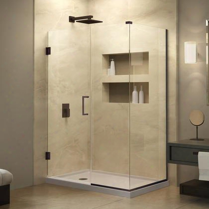 Shen-24605340-06 Unidoor Plus 60-1/2 In. W X 34-3/8 In. D X 72 Ih. H Hinged Shower Enclosure Oil Rubbed Bronze Finish