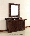 "Monterey 170V60DANBANB 60"" Double Vanity with 1 Shelf 4 Doors 2 Sinks Included Wood Top Antique Iron Hardware Oak and Birch Materials in Antique Brandy"