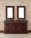 "Monterey 170V72ANBTBR 72"" Double Vanity with 2 Shelves 4 Doors 1 Drawer 2 Sinks Included Tropical Brown Granite Stone Top Antique Iron Hardware Oak and"