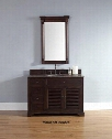 "Savannah 2381045231TBR 48"" Single Vanity with 1 Shelf 2 Doors 3 Drawers 1 Sink Included Antique Iron Hardware Tropical Brown Granite Top and Solid"