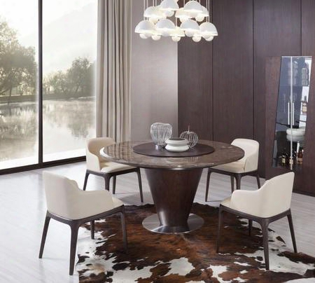 "Vgwce550tch Modrest Margot 59"" Round Dining Table + 4 Chairs In Brown"