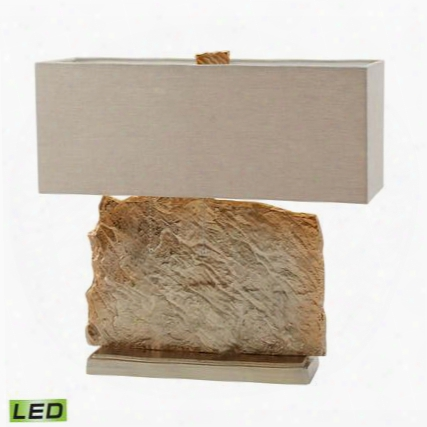 468-025-led Slate Slab Led Table Lamp In Gold With Natural Linen