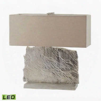 468-026-led Slate Slab Led Table Lamp In Nickel With Natural Linen