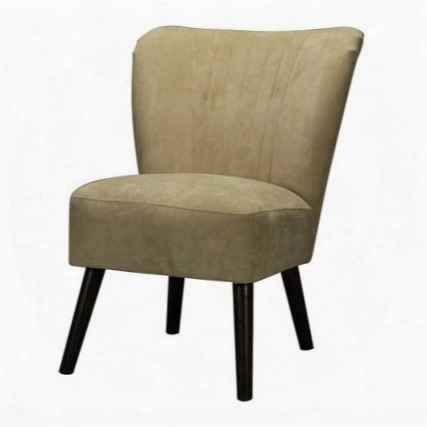 """Adare Collection 133-008 25"""" Accent Chair With Mid Century Style Dark Mahogany Tapered Legs Birch Wood Construction And Fabric Upholstery In Cream"""