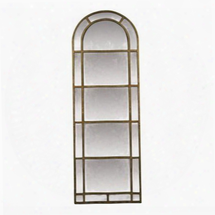 "Arched Pier Collection 26-4640m 83"" X 29"" Wall Mirror With Arched Top Rectangle Shape And Metal Frame Construction In Aged Iron"