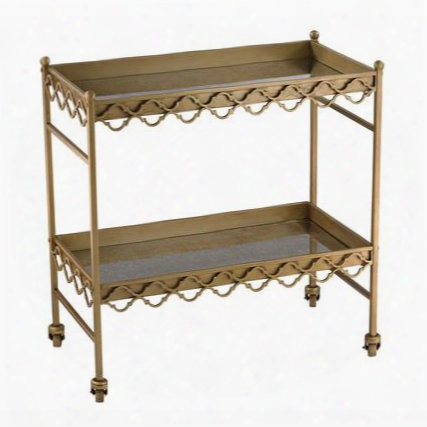 """Bar Cart Collection 51-008 30"""" Quatrefoil Cart With Antique Mercury Glass Shelves Casters And Metal Construction In Gold"""