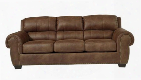 "Burnsville Collection 9720638 97"" Sofa With Faux Leather Upholstery Stitched Detailing Nail Head Accents Rolled Arms And Traditional Style In"