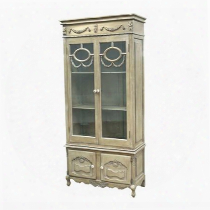 "El San Juan Collectio N89-5003 36"" Cabinet With 4 Doors 2 Shelves Decorative Carvings Medium-density Fiberboard (mdf) Polyglass And Ceramic Materials In"